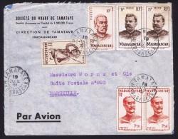 1951  Lettre Avion De Tamatave Pour La France Yv  303, 308 X2, 315, 316 X2 - Madagascar (1889-1960)