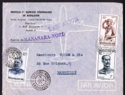 1954  Lettre Avion De Mananara-Nord  Pour La France Yv  303, 309, 317 - Madagaskar (1889-1960)