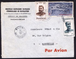 1953  Lettre Avion De  Majunga   Pour La France Yv  309, 316,  PA63 - Madagaskar (1889-1960)
