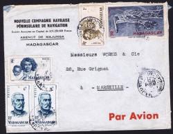 1952  Lettre Avion De  Majunga   Pour La France Yv  306, 312, 314 X2, PA 63 - Madagascar (1889-1960)