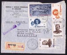 1952  Lettre De Tamatave Pour La France Yv 312, 313, 316 X2, PA63 - Madagascar (1889-1960)