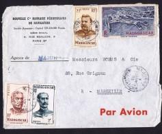 1953  Lettre De Majunga Pour La France Yv 309, 315, 318, PA 63 - Madagascar (1889-1960)