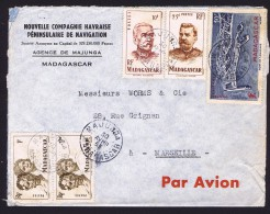 1953  Lettre De Majunga Pour La France Yv 306 X2, 315, 318, PA 63 - Madagascar (1889-1960)