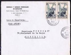 1955  Lettre De Manakara  Pour La France Yv 322 X2 - Madagascar (1889-1960)