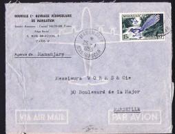 1955  Lettre De  Manajary  Pour La France Yv 324 Seul  Oiseau, Uratelornis - Madagascar (1889-1960)