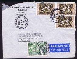 1955  Lettre De  Tulear   Pour La France Yv 3343, 344 X3 - Madagascar (1889-1960)