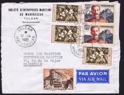 1956  Lettre De  Tulear   Pour La France Yv 326 X2, 328, 344 X3 - Madagascar (1889-1960)