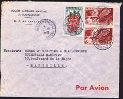 1958  Lettre De  Tamatave   Pour La France Yv 323 X2, 333 - Madagascar (1889-1960)