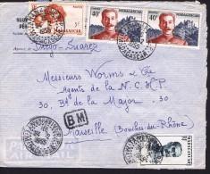 1955  Lettre De  Tananarive   Pour La France Yv 3309, 313, 326 X 2, - Madagascar (1889-1960)
