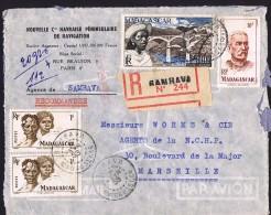 1955  Lettre Avion Recommandée  De  Sambava    Pour La France Yv  306 X2, 315, PA 76 - Madagascar (1889-1960)