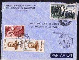 1955  Lettre Avion   De  Morondaka    Pour La France Yv  318 X2, 323, PA 75 - Madagascar (1889-1960)