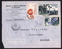 1954  Lettre Avion   De  Mananjary     Pour La France Yv  313,, 324, PA 75 - Madagascar (1889-1960)