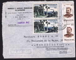 1955  Lettre Avion   De  Nossi-Bé     Pour La France Yv  316 X2,  PA 75 X2 - Madagascar (1889-1960)