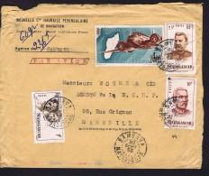 1953  Lettre Avion   De  Sambava     Pour La France Yv  306, 315, 318, PA 64A - Madagascar (1889-1960)