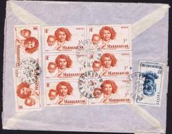 1954  Lettre Avion De Morombe  Pour La France  Bloc De 6 Yv 313, Affranchissement Composé - Madagascar (1889-1960)