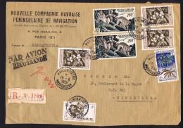 1958  Fragment De Lettre Avion Recommandée De Maroantsetra Pour La France  PA 77x2, 306, 331 X3, 332 - Madagascar (1889-1960)