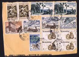 Fragment De Lettre Yv 306 X4, 327 X2, 329, 328, 331 X 2, 332, PA 75 X 2 - Madagascar (1889-1960)
