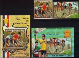 Radfahrt 1973 Äquatorial Guinea 266/7, Block 72 Plus 73 O 3€ Tour De France Fahrer Der 59. Tour Der Straßen - Fernfahrt - Equatorial Guinea