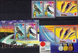 Olympic Winner Sapporo 1972 Äquator. Guinea 73A/B,Block 11 Plus 12 O 3€ Bf Winter Sport M/s Bloc Olympic Sheet Of Africa - Guinée Equatoriale