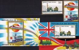 Eisenbahn Japan UK 1972 Äquator.Guinea 154A/B, Block 31 Plus 32 O 3€ Loks Bf M/s Locomotion Bloc Train Sheet Of Africa - Equatorial Guinea