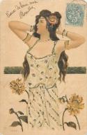 FANTAISIE 324 - CPA  - Femme Art Nouveau  Paillettes Précurseur   Belle Carte - Women
