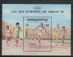 Mua848 SPORT OLYMPISCHE SPELEN HARDLOPEN 100 METER OLYMPIC GAMES LOS ANGELES POSTZEGELS STAMPS KAMPUCHEA 1984 PF/MNH - Zomer 1984: Los Angeles