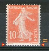 """N° 138 Ic*_Belle Impression Orange Pâle_effigie """"blanche""""_Timbre Plus PETIT - 1906-38 Semeuse Camée"""