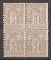 PRIX FIXE 1er SERVI BELLE VARIETE De PIQUAGE Sur Bloc De 4 N°87 Neuf** (+)TBE 60€ - 1876-1898 Sage (Type II)