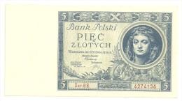 Poland 5 Zlotych 1930 UNC - Polonia