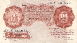 BILLETE DE REINO UNIDO DE 10 SHILLINGS   (BANKNOTE) - …-1952 : Before Elizabeth II