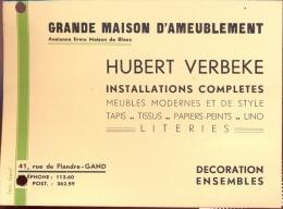 Pub. Reclame Kaart Hubert Verbeke Gent - Meubels - Cartes De Visite