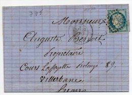 N°60A - VARIETE BARAT/SUARNET N°63 - Trait Partant De La Rosette Et Coupant Le Filet Droit En Haut , Sur Lettre - 1871-1875 Ceres