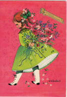 A.M.Constant - Petite Fille , Bouquet De Fleurs - Künstlerkarten