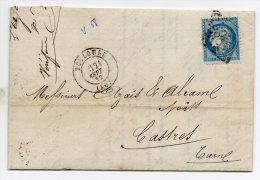 N°60A - VARIETE BARAT/SUARNET N°68 - Enfoncement Du Filet Droit Partie Superieur, Sur Lettre - 1871-1875 Ceres