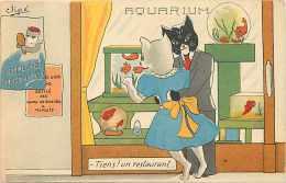 Themes Div- Chats - Ref F635- Illustrateur -chats Humanisés - L Aquarium  -carte Bon Etat  - - Chats