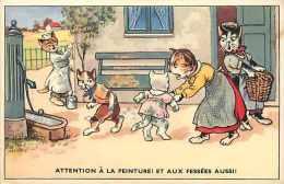 Themes Div- Chats - Ref F625- Illustrateur -chats Humanisés - Carte Bon Etat   - - Chats