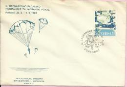 3rd Adriatic Parachuting Cup, Portorož, 25.8.1963., Yugoslavia, Cover - Paracadutismo