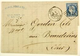 LAC 1872 Lyon Vaise --> Bourdelins, Affr. 25c Type Ceres YT 60A, Losange GC 2145 - Postmark Collection (Covers)