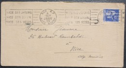 Enveloppe 1939  Nice RP  --> Nice, Affr. 90 C Typr Paix YT 368 OMEC RBV Nice Ses Jardins Nice Son Soleil Nice Ses Fet - Lettres & Documents