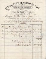 59 LILLE FACTURE LETTRE 1842 MANUFACTURE De CHICOREE CAFE MOKA Joseph LERVILLES  Voir Tampon Sur 2é Scan - JV9 - France