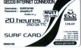 ALGERIE-CARTE ACCES INTERNET- NUIT/20 HEURES - Phonecards