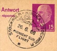 MIDNIGHT SUN FLIGHT KIRUNA Sweden 1968 On East German Postal Card With Reply P74 - Geographie