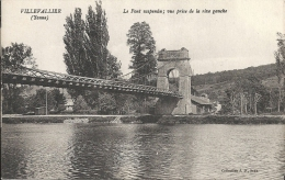 VILLEVALLIER  - 89 -  Le Pont Suspendu, Vue Prise De La Rive Gauche  -  160513 - Altri Comuni