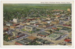 VERNON TX~BUSINESS SECTION AERIAL VIEW~c1940s~TEXAS Linen Postcard~TOWN VIEW [3969] - Etats-Unis