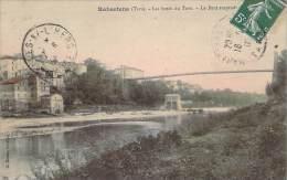 81 - Rabastens - Les Bords Du Tarn, Le Pont Suspendu (partiellement Aquarellée) - Rabastens