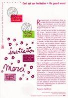 "(Prix à La Poste = 5.00 €) Document Officiel DPO 2005 N° 21 05 542 "" INVITATION / MERCI "" N° YT 3760 3761 - Documentos Del Correo"
