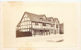 PHOTOGRAPHIE CDV 1870 :  STRATFORD ON AVON HOUSE WICH SHAKESPEARE WAS BORN ENLAND - Photographs