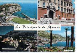 CP -  LA PRINCIPAUTE DE MONACO - MULTIVUES - LE ROCHER ET LE STADE - PALAIS DU PRINCE LA RELEVE DE LA GARDE - LE PALAIS - Panoramic Views