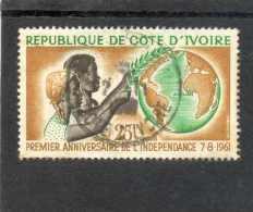 COTE D´IVOIRE : Anniversaire De L'Indépendance : Couple, Carte Du Monde - - Ivory Coast (1960-...)