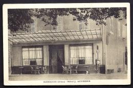 CPA ANCIENNE- FRANCE- MARSANNE (26)- HOTEL J. SOURBIER- ENTREE TRES GROS PLAN- POSTE A ESSENCE DEVANT - Frankreich
